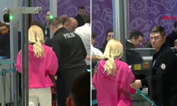 Aleyna Tilki havalimanında olay çıkardı