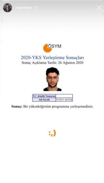 Reynmen lakaplı Yusuf Aktaş, YKS yerleştirme sonucunu paylaştı #1