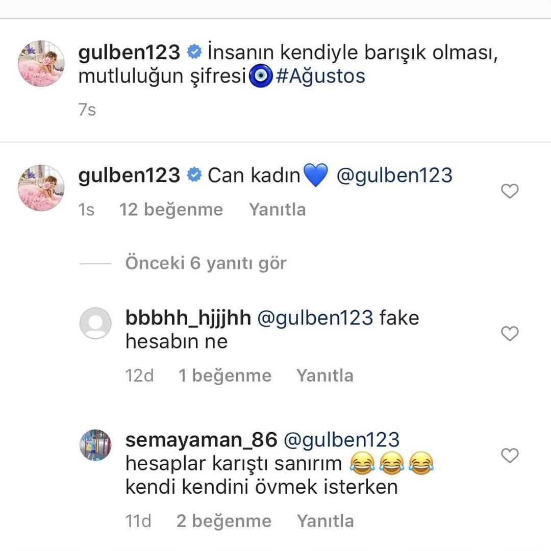 Gülben Ergen, kendine yorum yazdı