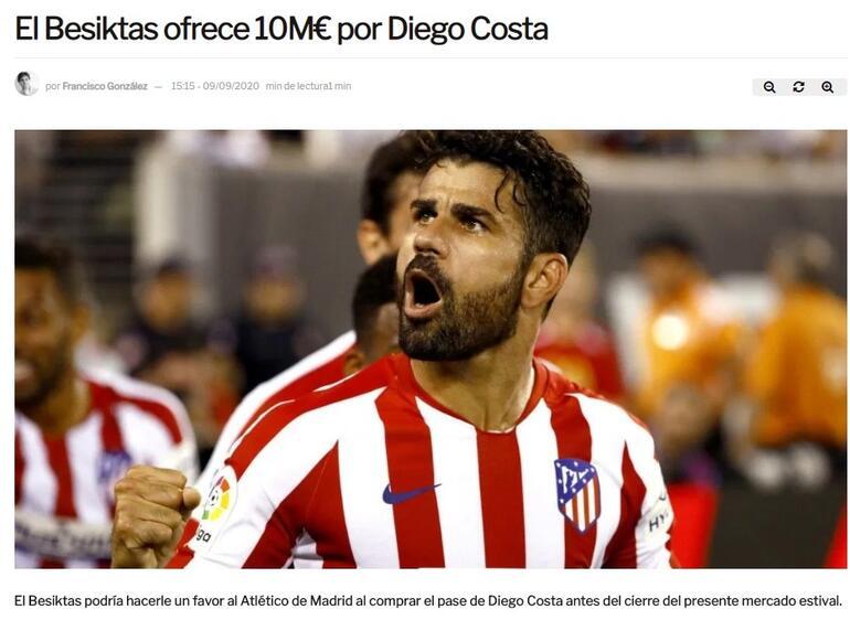 Son dakika transfer haberi | Beşiktaştan Diego Costa için 10 milyon euro