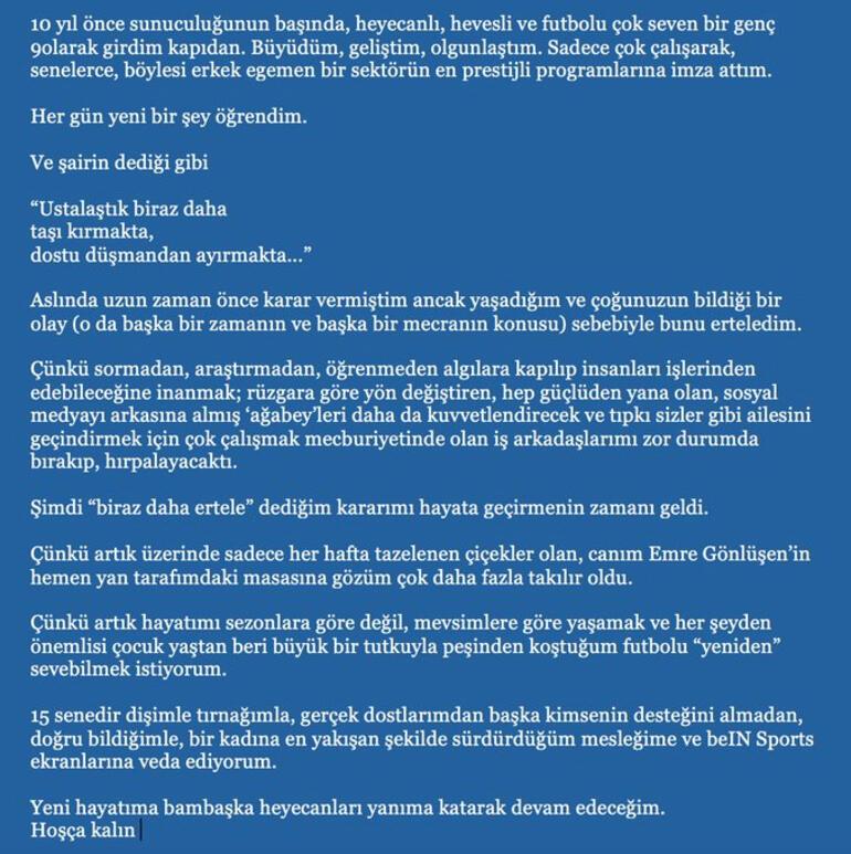 Spor spikeri Nazlı Canyurt beIN Sportstan ayrıldı