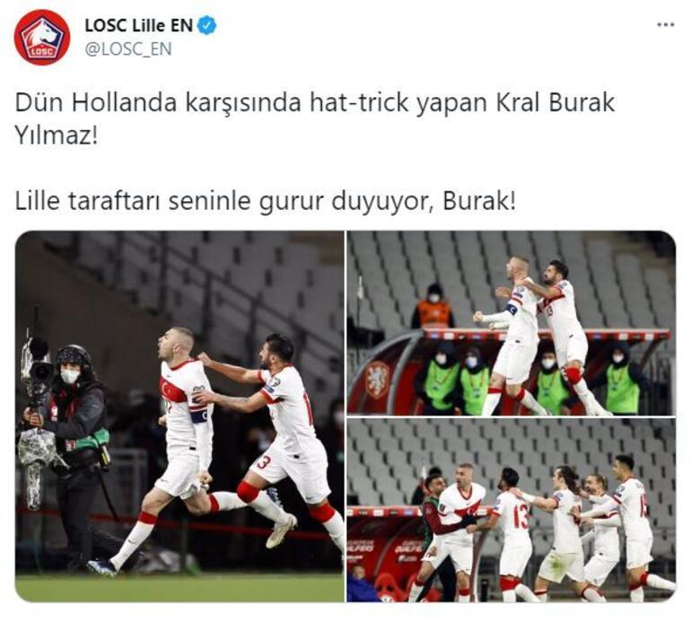 Hollanda maçındaki hat-trick sonrası Lilleden Burak Yılmaz paylaşımı