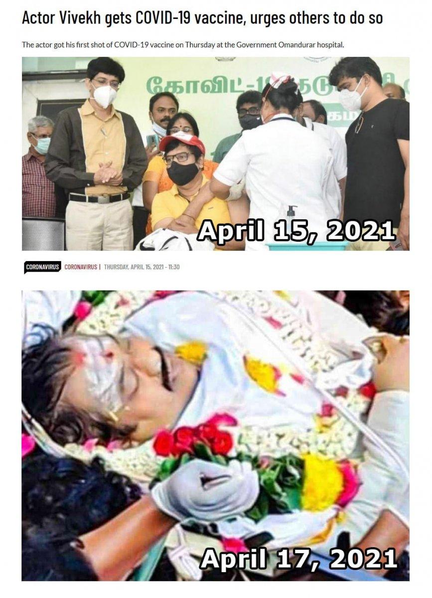 Kamera önünde aşı olan Tamil Vivek, hayatını kaybetti