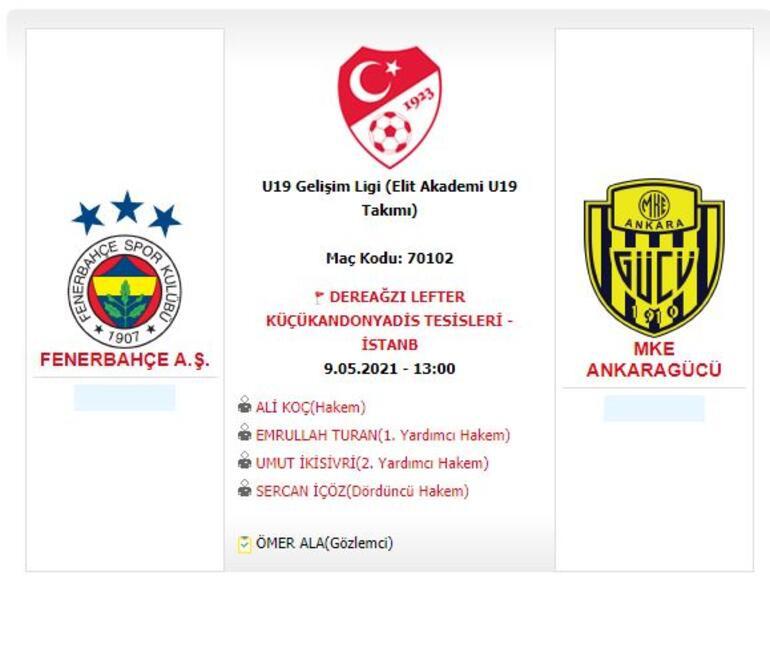 Fenerbahçe-Ankaragücü U19 Gelişim Ligi maçına ilginç atama Hakem Ali Koç...